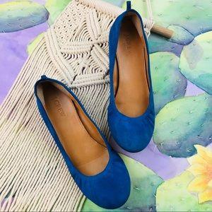 J.CREW Blue Suede Ballerina Flats